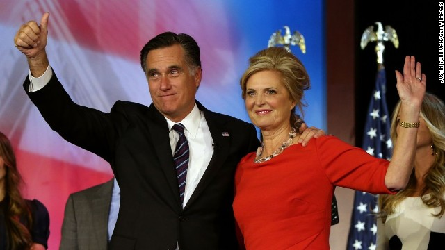 BOSTON, MA - NOVEMBER 07:  Republican presidential candidate, Mitt Romney, wife, Ann Romney, and family, wave to the crowd on stage after conceding the presidency during Mitt Romney's campaign election night event at the Boston Convention & Exhibition Center on November 7, 2012 in Boston, Massachusetts. After voters went to the polls in the heavily contested presidential race, networks projected incumbent U.S. President Barack Obama has won re-election against Republican candidate, former Massachusetts Gov. Mitt Romney.  (Photo by Justin Sullivan/Getty Images)