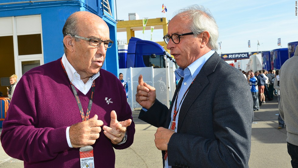 Carmelo Ezpeleta, left, is CEO of Dorna -- the commercial rights holder of MotoGP and, since late 2012, World Superbikes. He is pictured with Vito Ippolito, president of motorcycling's governing body FIM.