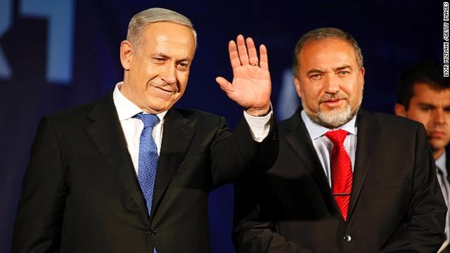Israeli PM Benjamin Netanyahu with Israel's foreign minister  Avigdor Liberman on Janurary 23, 2013 in Tel Aviv, Israel.