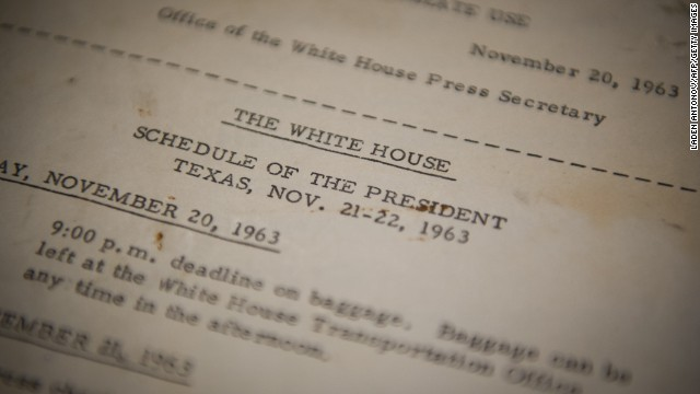 JFK's official schedule, distributed by the White House before his trip to Dallas between November 20-22, 1963.