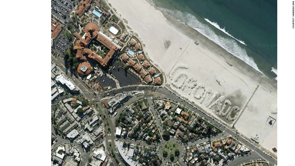 Coronado Beach is easily identifiable by air, thanks to a sand sculpture built by a city employee in 1988.
