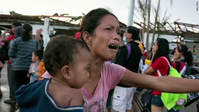 Typhoon survivors face hunger, thirst