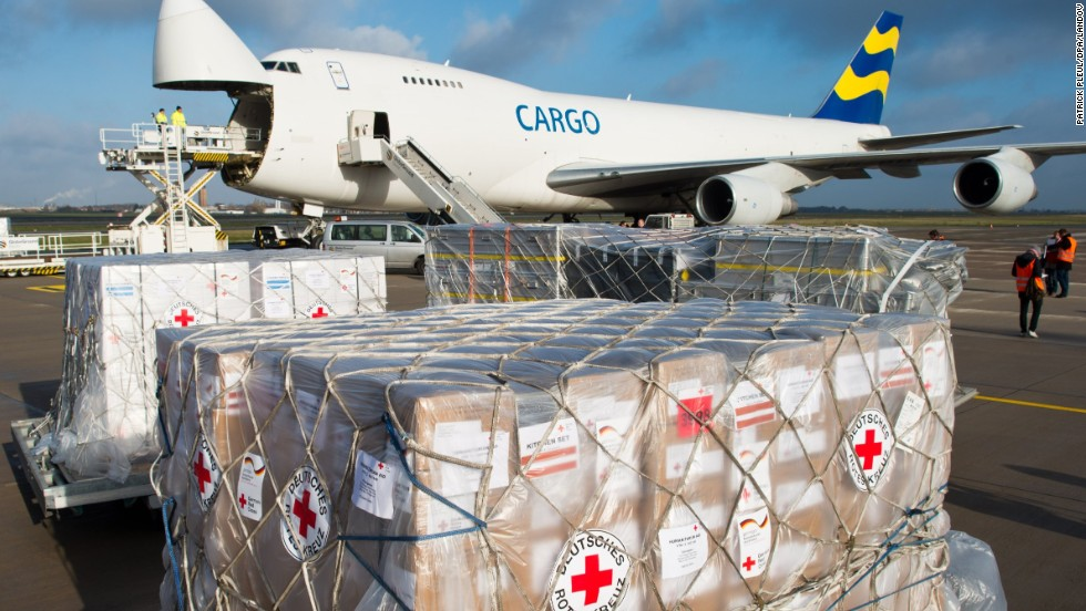 Relief supplies are loaded onto an airplane in Germany on November 13.