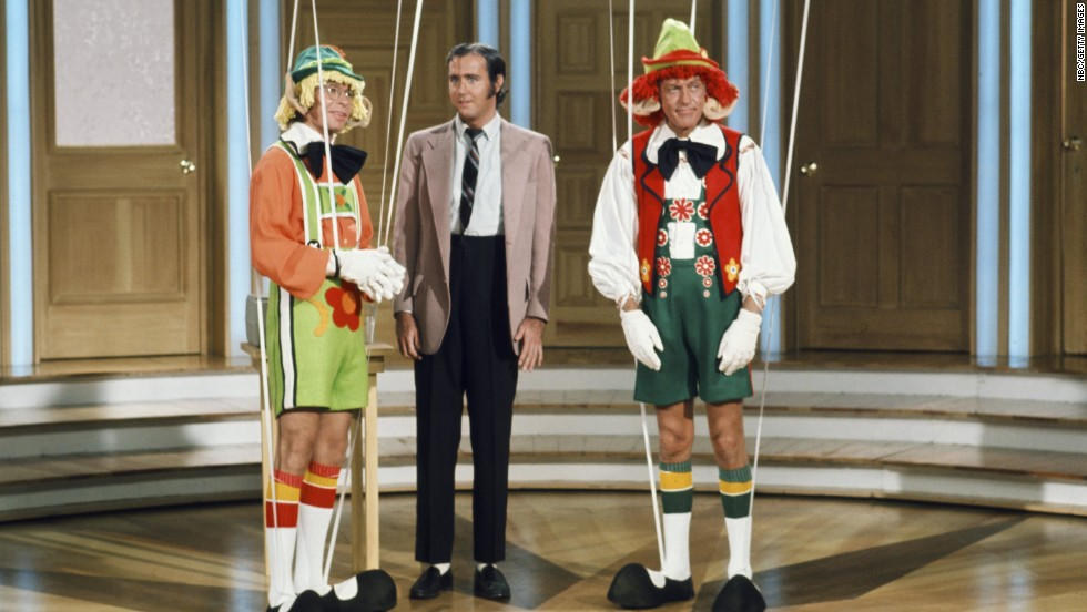 "John Denver, left, Kaufman as ""Foreign Man,"" and Dick Van Dyke during one of Kaufman's many ""unscheduled"" appearance on Van Dyke and Company in 1976. He became a favorite during the sketches."