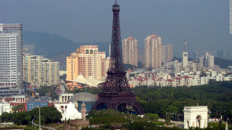 This doesn't look like Paris ... and it isn't. Shenzhen in China has a theme park dedicated to replica monuments from around the world. The Window of The World park is just one example of countries attracting tourists with someone else's idea. And China doesn't stop there ...