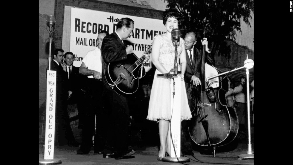 Patsy Cline performs at Nashville's Grand Ole Opry in this undated photo. The country music star and three others were killed on March 5, 1963, in the crash of a Piper Comanche near Camden, Tennessee.