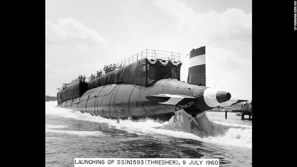 On April 10, 1963, 129 men lost their lives when the nuclear-powered submarine USS Thresher sank during deep-dive testing off Cape Cod. The sub is seen here during its launch in 1960.  The sinking is the deadliest submarine disaster in U.S. history and delivered a blow to national pride during the Cold War, becoming the impetus for safety improvements.