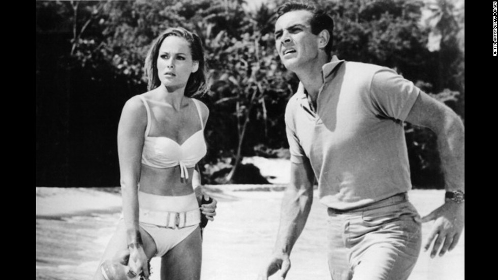 "Sean Connery and  Ursula Andress appear in a scene from the film ""James Bond: Dr. No."" The film premiered in the United States on May 8,1963, as the first James Bond film."