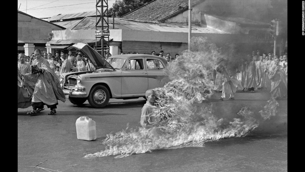 Thich Quang Duc, a Buddhist monk, burned himself to death on a Saigon street June 11, 1963, to protest alleged persecution of Buddhists by the South Vietnamese government.