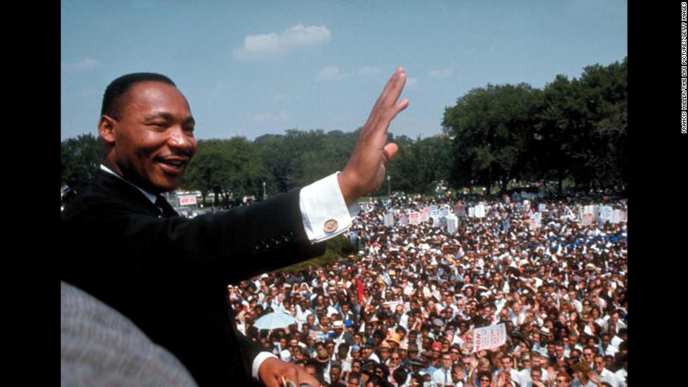 "The Rev. Martin Luther King Jr. gives his ""I Have a Dream"" speech to a crowd  on the National Mall in Washington during the March on Washington for Jobs & Freedom, also known as the Freedom March, on August 28, 1963."