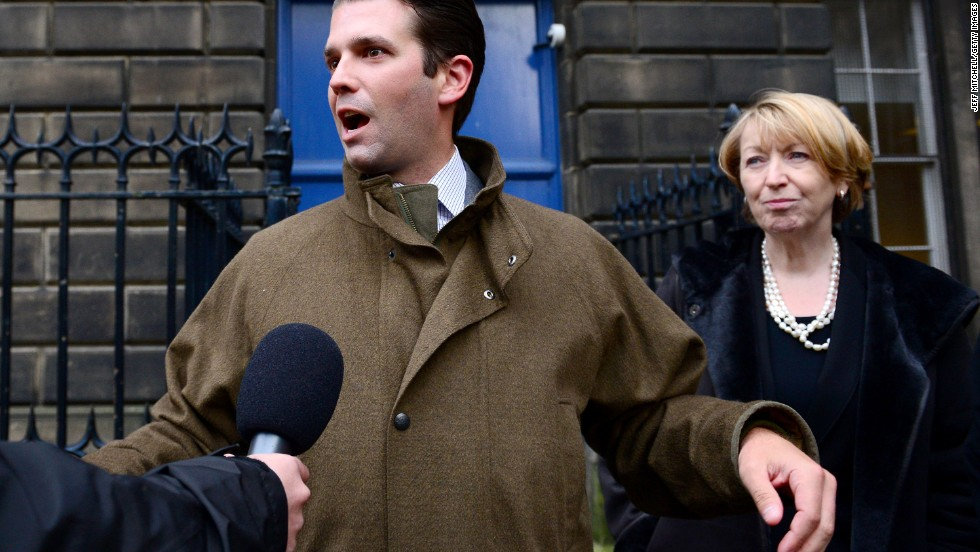Donald Trump Jr. speaks to the media after the first day of a court hearing in Edinburgh on November 12. His father is challenging a Scottish Government decision to allow an offshore wind farm near his championship golf course resort.