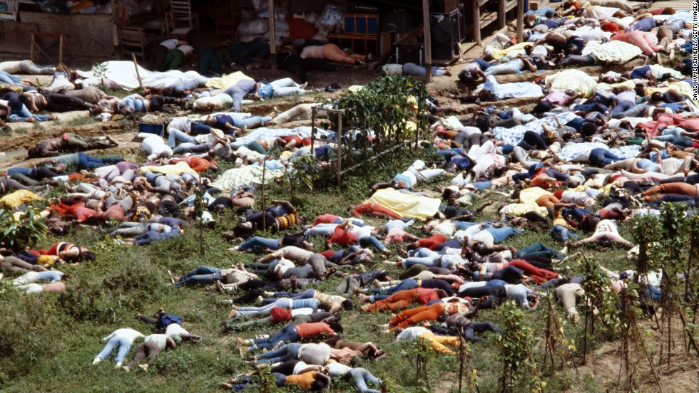 "Bodies lie around the compound of the People's Temple in Jonestown, Guyana, on November 18, 1978. More than 900 members of the cult, led by the Rev. Jim Jones, died from cyanide poisoning; it was the largest mass-suicide in modern history. See the story of Jonestown in the ""Crimes and Cults"" episode of ""<a href=""/shows/the-seventies"">The Seventies</a>,"" July 9 at 9 p.m ET/PT."