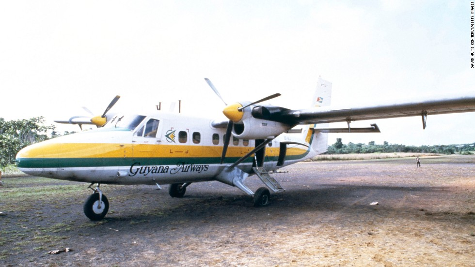 The airplane that carried U.S. Rep. Leo Ryan of California sits on a runway November 18, 1978 in Port Kaituma, Guyana after Ryan was shot and killed by members the cult. Ryan was boarding the plane after paying an investigative visit to the cult's compound. The visit and subsequent assassination precipitated the mass suicide.