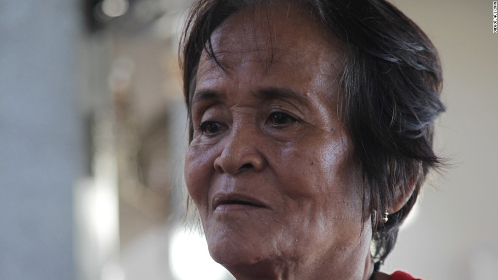 "Arsenia Orioque, 74, had come to the church to pray and to take advantage of the medical services being offered there each afternoon. She seldom came to church before the storm struck, but now she says she can find peace there. ""In my prayers, I give thanks that I survived the typhoon,"" she said.<br />"