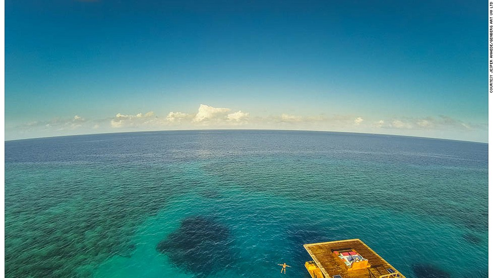 "The room floats above The Blue Hole, which resort representatives say is an anomaly in the coral reef -- ""A perfectly protected spot"" that's a circular hole inhabited by large coral heads and vibrant marine life."