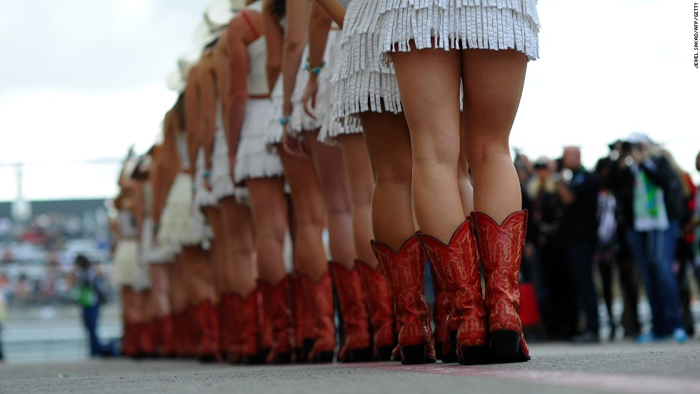 Boot parade. Texan style footware is the order of the day for the grid girls at the F1 Grand Prix in Austin.