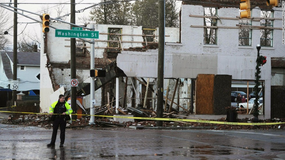 The Irvington Post Office is badly damaged after heavy rain and high winds hit Indianapolis on November 17.