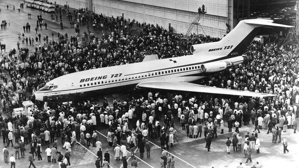 Boeing struck gold with the 727. Just 250 were planned, but demand was so high a total of 1,832 were built by the time production ceased in 1984. The most distinctive of Boeing's early jets, with a T-shaped tail and a trio of rear-mounted engines, the noisy 727 took its first flight in 1963. It was designed to use smaller, less developed runways, making it amenable to a host of out of the way airports.