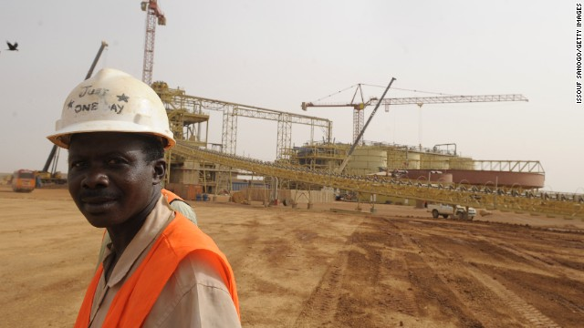 Gold is among the resources spurring economic growth in Africa. Pictured,  the Essakane gold mine in Burkina Faso.