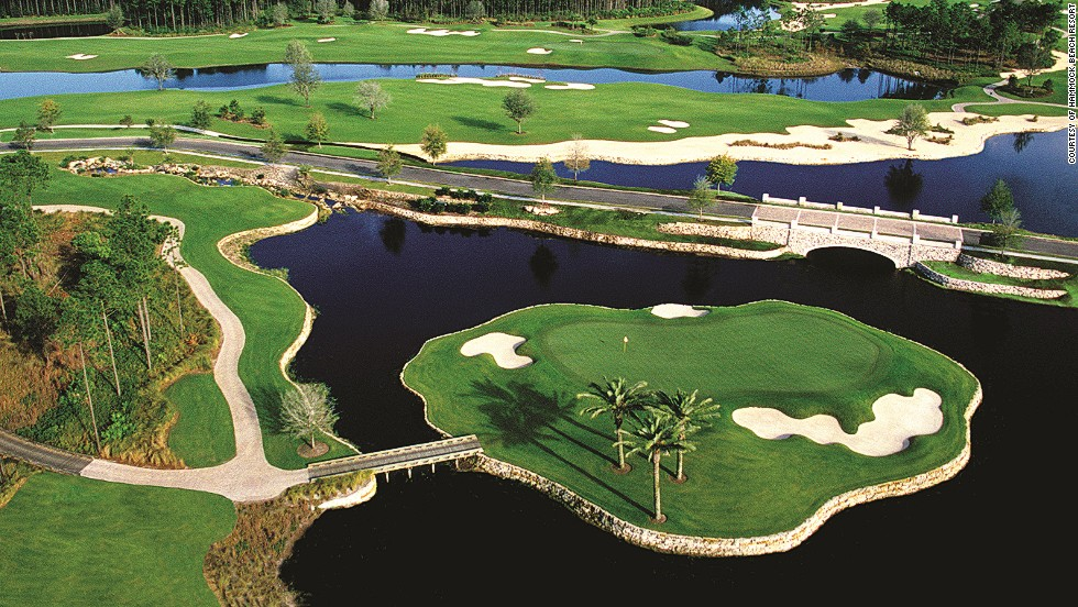 <strong>8th hole, Conservatory Course, Hammock Beach, Palm Coast, Florida. </strong>The Tom Watson-designed course includes this  par three, which plays 199 yards from the back tee. A tee shot not fired directly at the putting surface isn't necessarily doomed to a watery grave, with dry relief to the right and behind the green.<br />
