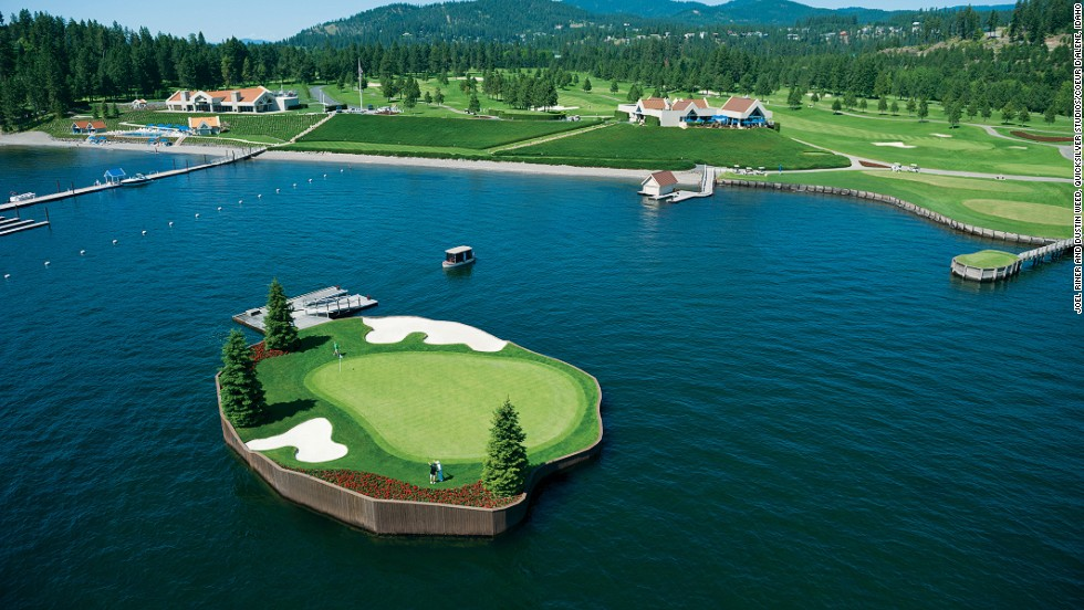 "<strong>14th hole at Coeur d'Alene Resort Golf Course, Idaho. </strong>The par-three hole at the Idaho course includes the world's only floating, moveable green, according to the resort. The 15,000-square-foot green in Lake Coeur d'Alene sits on a 104 blocks of expanded polystyrene encased in concrete. The green is tethered using a network of underwater steel cables which can be moved to decrease or extend the length of the hole from 110-210 yards. Players take a ""Putter"" ferry to the green.       <br />"