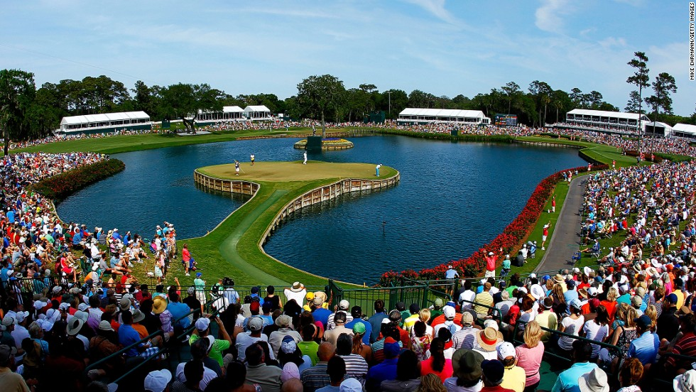 <strong>17th hole at TPC Sawgrass, Stadium Course, Ponte Vedra Beach, Florida.</strong> Sawgrass' legendary par three is unquestionably the most famous of island green in golf. The 137-yard hole might pose few problems for the pros these days but for amateurs the challenge is enough to drag any dormant hook, slice or -- god forbid -- shank, out of hibernation. <br />
