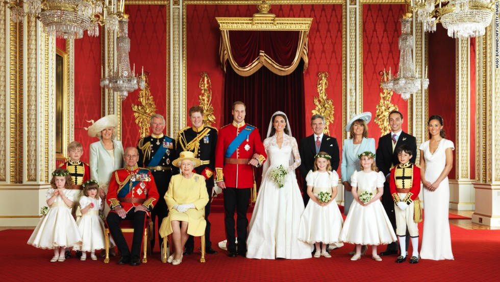 The British royal family poses for a portrait in the Throne Room at Buckingham Palace in London on April 29, 2011.