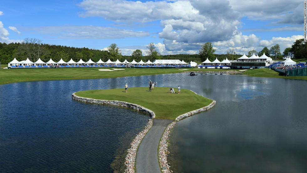 <strong>17th hole at Bro Hof Slott Golf Club, Sweden. </strong>Since opening in 2007, Bro Hof Slott's Stadium Course on Lake Malaren near Stockholm has become one of Europe's premier golf destinations. The home of the European Tour's Nordea Masters is famously long (nearly 8,000 yards) and includes this tricky 164-yard par three with its bunkerless island green.     <br />