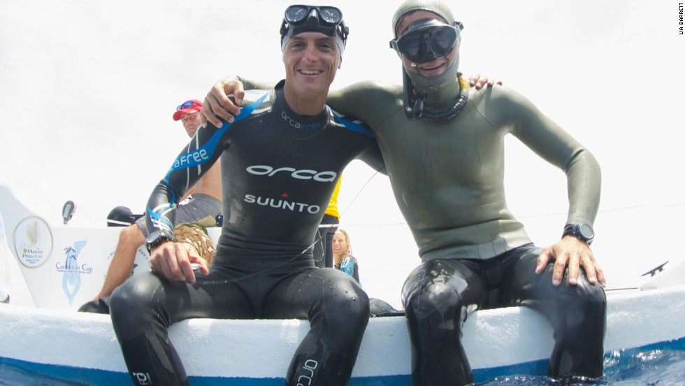 "Mevoli competed alongside William Trubridge (left), possibly the most famous freediver in the world. Trubridge is a 15-times world record holder and two-time World Champion. ""The joy of being in the water, suspended in silence, at that depth, is incredible,"" Trubridge told CNN in 2013. ""It's almost impossible to think about the past or future. You're able to just live in the now."""