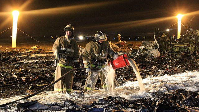 "A handout photo provided early on November 18, 2013 by the Russian Emergencies Ministry's press service shows rescuers working at the crash site of a Boeing 737 passenger airliner in the international airport of Russia's Volga city of Kazan. A Boeing 737 operated by a Russian airline crashed yesterday while attempting to land in Kazan, killing all 50 on board, Russia's emergency situations ministry said. AFP PHOTO / RUSSIAN EMERGENCIES MINISTRY  -- RESTRICTED TO EDITORIAL USE - MANDATORY CREDIT ""AFP PHOTO / RUSSIAN EMERGENCIES MINISTRY "" - NO MARKETING NO ADVERTISING CAMPAIGNS - DISTRIBUTED AS A SERVICE TO CLIENTS --HO/AFP/Getty Images"