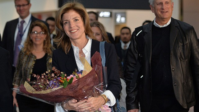 Newly appointed US Ambassador to Japan Caroline Kennedy, accompanied by her husband Edwin Schlossberg (R), arrives in Japan at the Narita International Airport in Narita, east of Tokyo on November 15, 2013. The daughter of slain US President John F. Kennedy is expecting to present her credentials to Emperor Akihito at the Imperial Palace next week, starting her formal duties as envoy. AFP PHOTO / POOL / Yoshikazu TSUNOYOSHIKAZU TSUNO/AFP/Getty Images