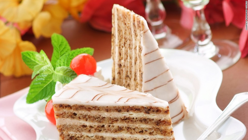 The Hungarian royal's name, Prince Eszterhazy, lives on in one of Europe's most famous cakes: Five layers of almond meringue and buttercream with elegant swirls on top.