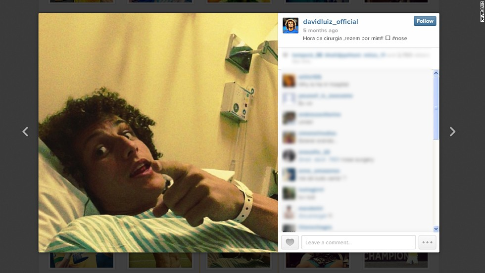 David Luiz is another member of the Brazil team who can't resist a selfie. The Chelsea defender even took a snap from his hospital bed after undergoing surgery on a broken nose in July.