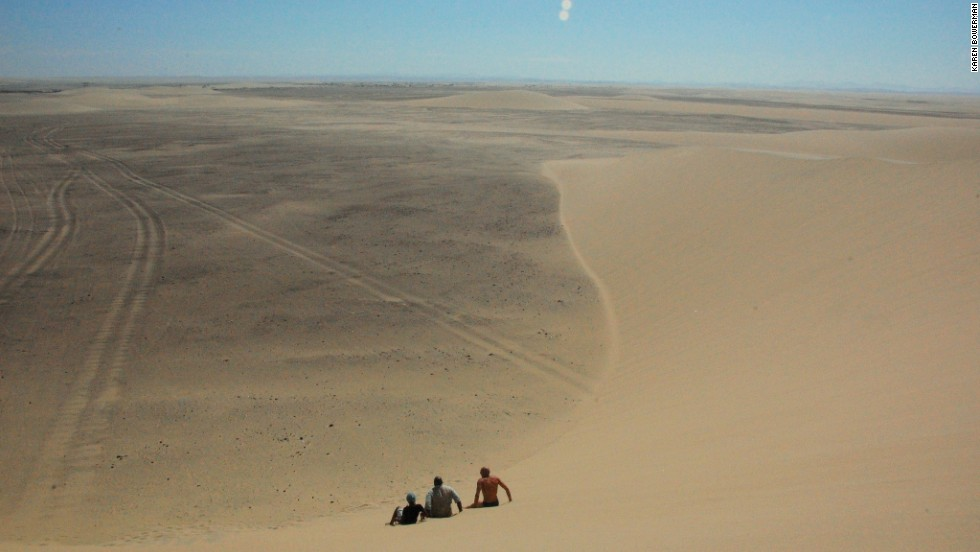 "Air trapped between grains of sand makes the dunes ""roar"" when you toboggan down them."