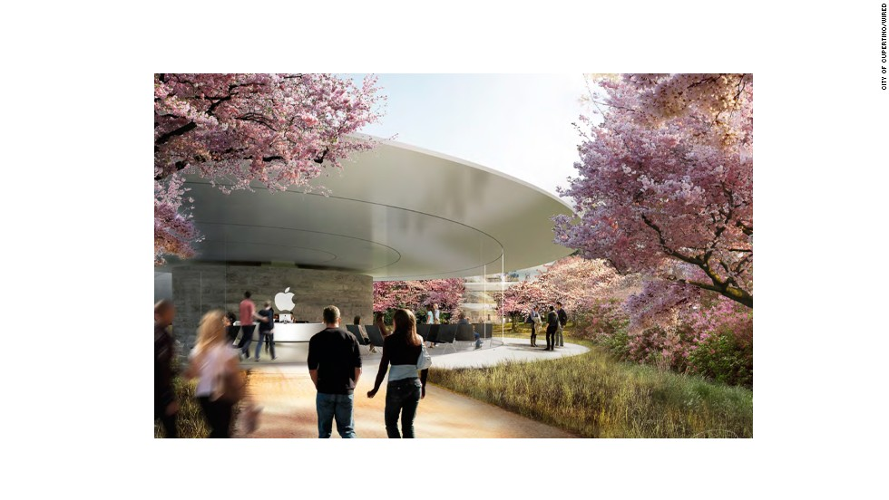 The renderings show architectural designs that borrow from the sleek, minimalist aesthetic of Apple's retail stores. This image shows a visitor's entrance.