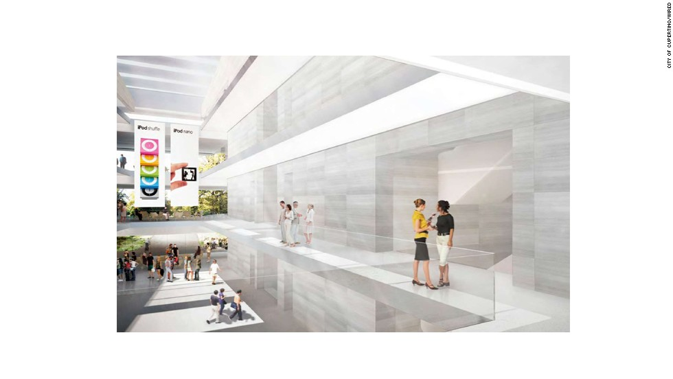 This rendering offers one of the first peeks at what the future building might look on the inside. Note the iPod Nano banners: