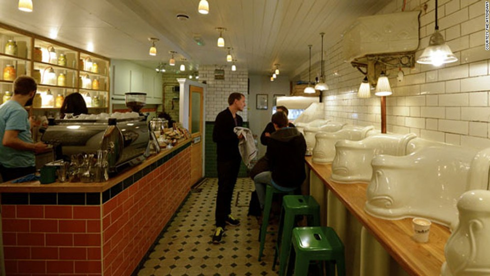 "There are quite a few London restaurants that have made a point of using former toilet spaces as their venues. The Attendant, a subterranean London cafe, occupies a former Victorian toilet built in the 1890s. The interior retains the original floors, walls and urinals. Each urinal has been transformed into a seating cubicle. <a href=""http://travel.cnn.com/you-gotta-go-londons-toilet-restaurant-craze-049551"" target=""_blank"">Read more: London's dash to 'toilet restaurants'</a>"