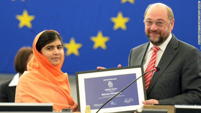 Malala Yousafzai with European Parliament president Martin Schulz, on November 20, 2013 in Strasbourg, France.