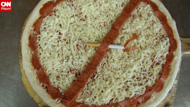 Pizza parlor owner Paul Tamasi created this pizza to celebrate the fact that he quit smoking in 1985