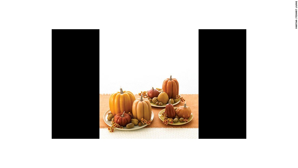 "Pumpkin candles: <a href=""http://www.marthastewart.com/271234/candles-take-shape-for-the-holidays?xsc=synd_cnn"" target=""_blank"">Make your own</a> pumpkin-shaped candles."