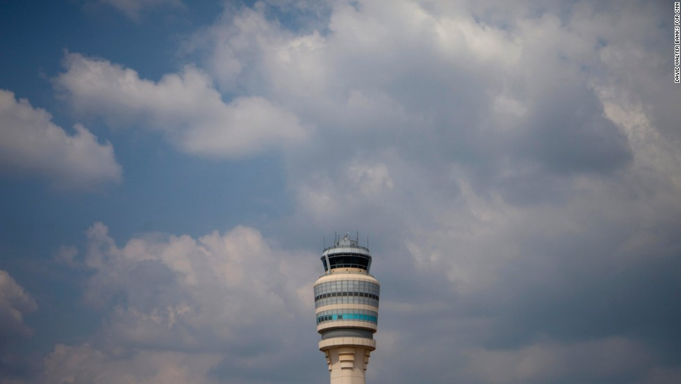 The air traffic control tower offers a 360-degree view of the runways.