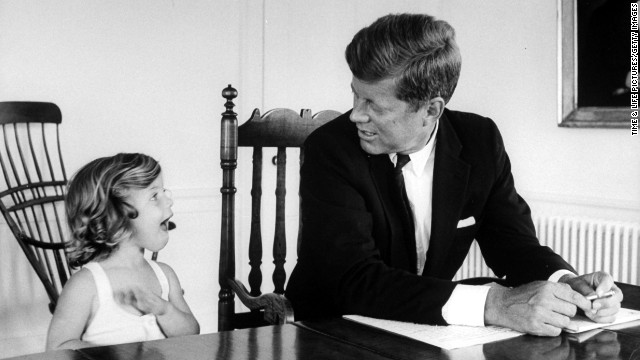 Senator John F. Kennedy with daughter Caroline in August 1960.
