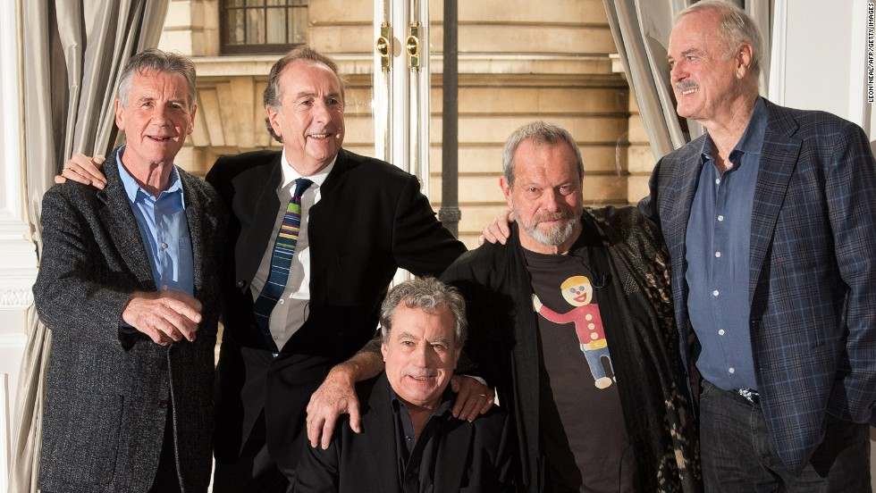 All smiles: From left, Michael Palin, Eric Idle, Terry Jones, Terry Gilliam and John Cleese will be performing at the O2 Arena in London on July 1.