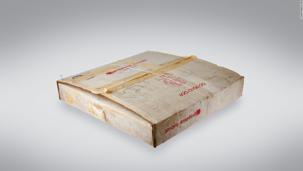 In addition to the products themselves, Zufi included several photographs of them in their original packaging. This battered box held a Graphics Tablet, a very early device that could be used to draw images on the Apple II.