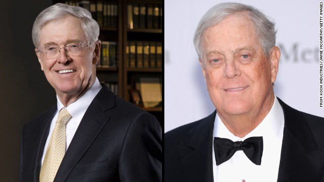 Charles Koch, left, and David Koch have spent millions supporting conservative campaigns.