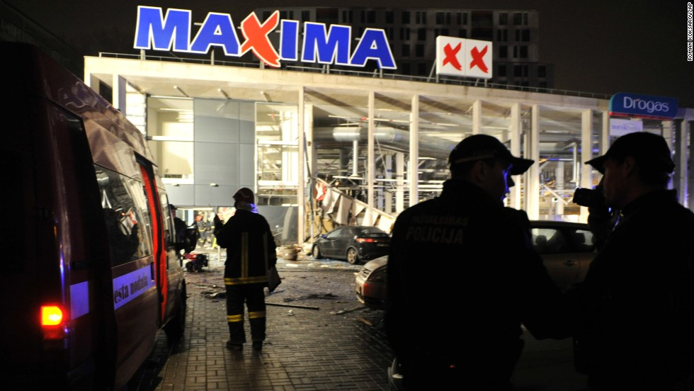 Dozens also were injured when the roof of the large grocery store in the Latvian capital collapsed.