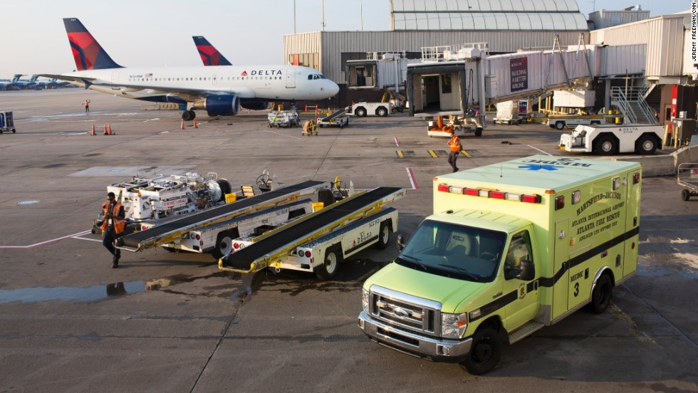 Medic 3 -- a 10-year-old ambulance -- sits outside Fire Station 32, next to the tarmac near Concourse A.