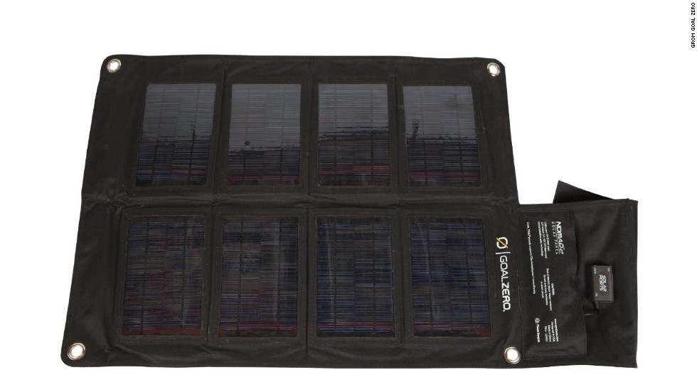 <strong>Goal Zero Nomad solar panels. </strong>Portable solar panels have become a mainstay of hikers and mountaineers, and Goal Zero offers a variety of sizes and wattages. The 20-watt model, for example, folds up small, weighs just 2½ pounds and is strong enough to power a laptop. (Batteries are required to store charges.) ($199)