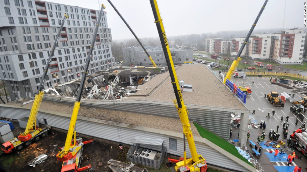 Damage is visible in the daylight at a Riga, Latvia, supermarket on November 22.