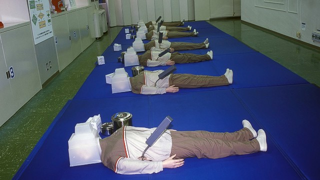 Tokyo Earthquake Simulation Center visitors learn emergency first aid and how to protect themselves after a quake.